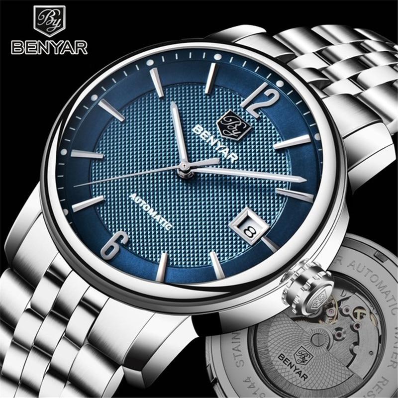 BENYAR Marca de Luxo Novos Homens de Negócios Mecânico Automático Relógios À Prova D' Água Relógio de Aço Inoxidável relógio de Pulso Relogio masculino