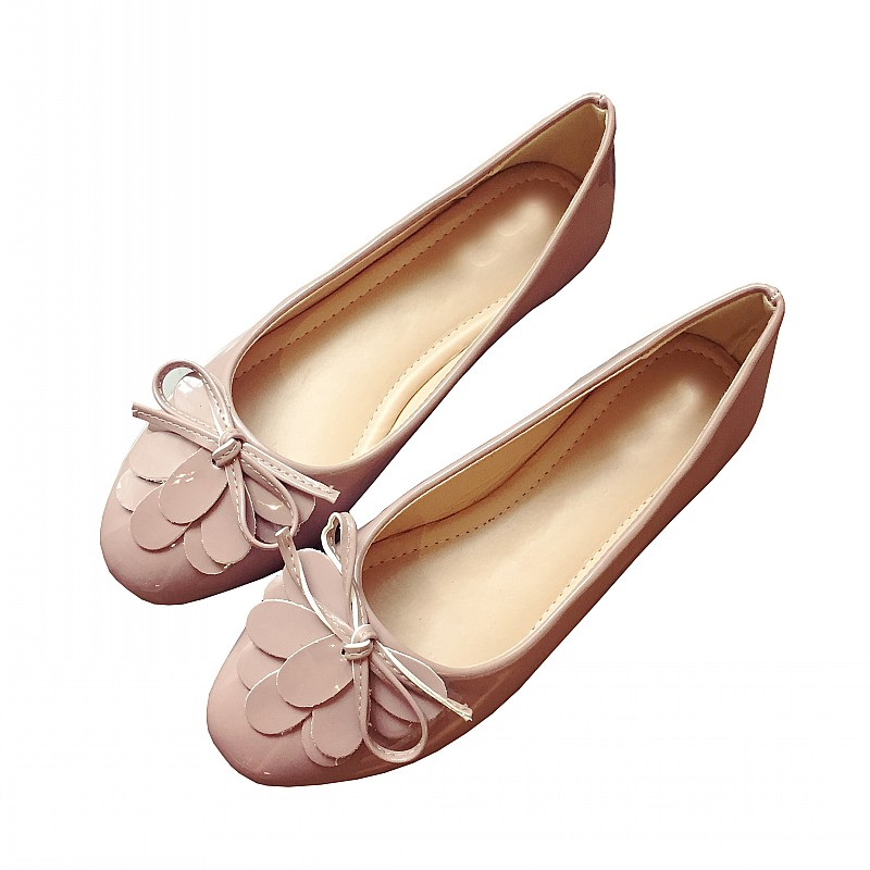 Sexy Flower Bowtie Women's Flats Spring Autumn Round Toe Shallow Ladies Ballet Flats Casual Single Shoes Woman Boat Shoes Pink fashion women pointed toe flats shoes spring autumn rivets bowtie shallow slip on woman ballet flats ladies single shoes pink