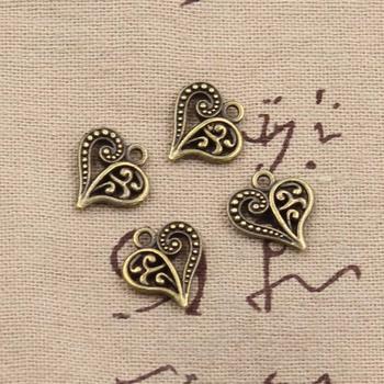 20 sztuk Charms Hollow piękny serce 15x14mm Antique Making wisiorek fit w stylu Vintage tybetański brąz srebrny kolor ręcznie robiona biżuteria DIY tanie i dobre opinie hroryn CN (pochodzenie) Ze stopu cynku Hearts moda like photo Metal TRENDY