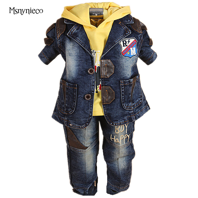 Baby Boys Clothing Sets 2018 Fashion Kids Boys T Shirt + Denim Pants+Tops 3pcs Suit Sets Children Infant Baby Boys Clothes Set