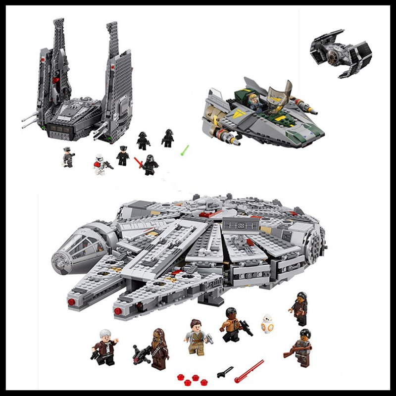 ФОТО In-Stock Free shipping LEPIN Star Wars 05006 05007 05030 Millennium Falcon Figure Toys building blocks marvel Kids Toy Gift