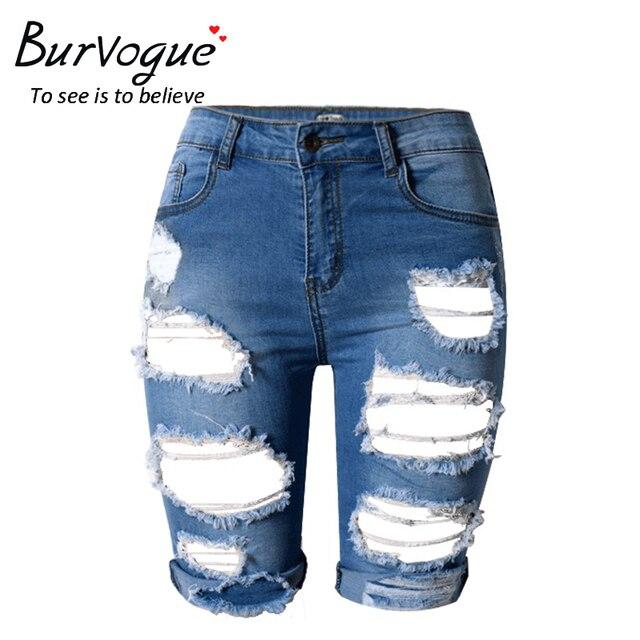 Burvogue mujeres nuevo verano de la alta cintura hasta la rodilla pantalones vaqueros del agujero y ahueca hacia fuera los pantalones vaqueros rasgados pantalones vaqueros calientes pantalones