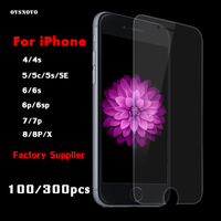 50/100PCS/LOT 9H 0.33mm Tempered Glass For iPhone 5 5S SE Screen Protectors Ultra Thin Screen Film For iPhone 8 7 Plus 6 6S Plus