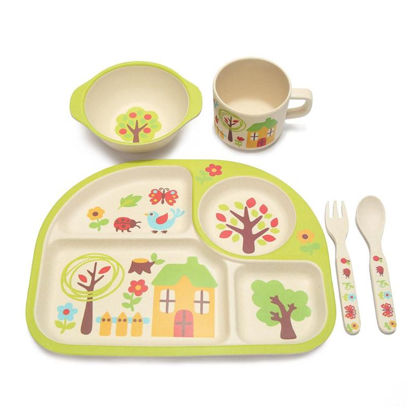 5pcs/set Eco-friendly <font><b>Bamboo</b></font> Fiber Baby Plate Cup Bowl Spoon Dishes 4 Slots Children Tableware Sets Baby <font><b>Kids</b></font> Dishes Dinnerware image