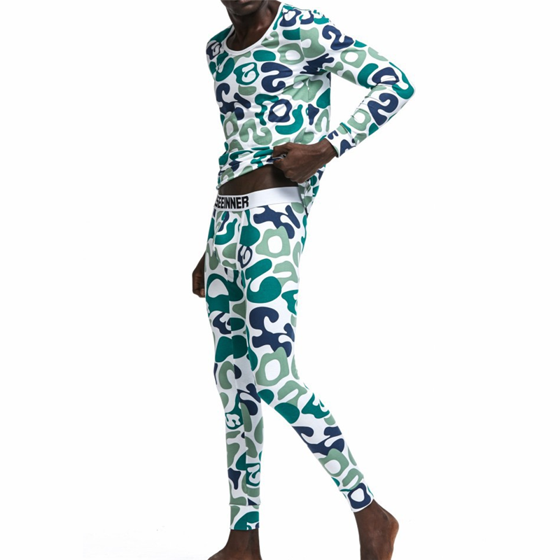 Men's Underwear Cotton Camouflage Printing Home Wear Thin Basic Long Johns Men's Warm Underwear Suit(for A Set)