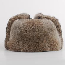1-High Qualität Mens 100% Echten Kaninchenfell Winter Hüte Lei Feng hut mit ohrenklappen warm snow caps russischen hut bomber cap