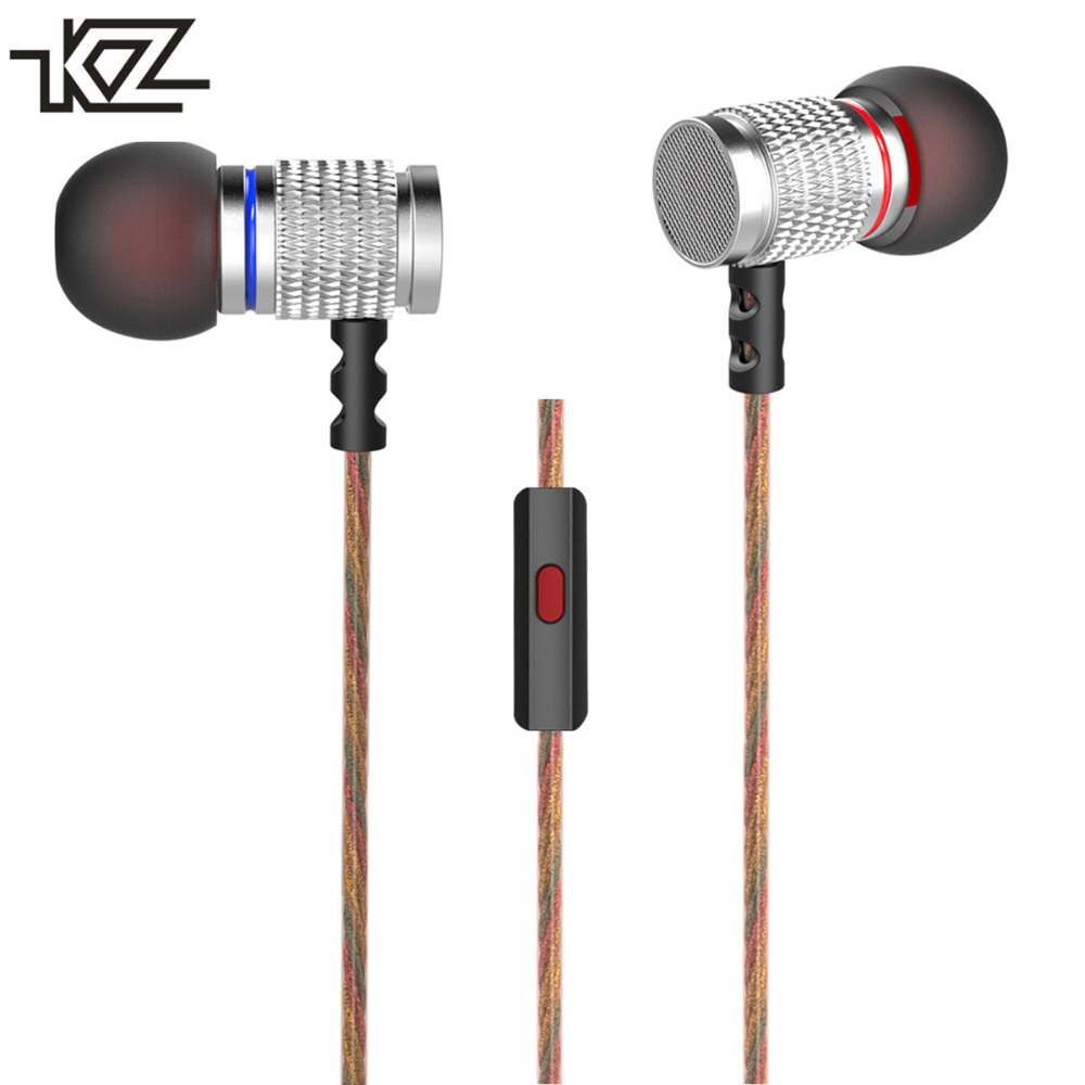 KZ EDR2 In-ear Subwoofer Metal Earphone Hifi Sport Headset Noise Isolating Earbud Earpieces with MIC Microphone for Mobile Phone kz ates ate atr hd9 copper driver hifi sport headphones in ear earphone for running with microphone game headset