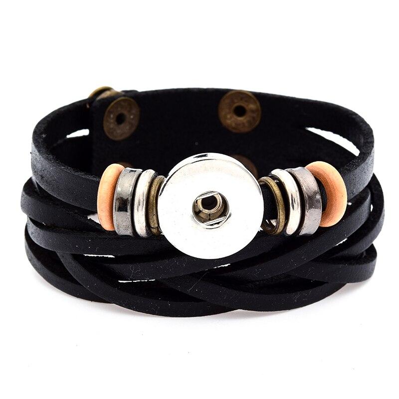 bfeb02151c35 Moda SE0082 encanto estilo nacional belleza capas de cuero pulsera brazalete  18mm Snap botones joyas