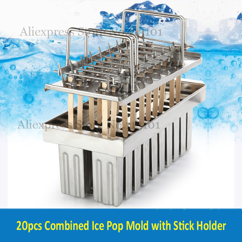 Popsicle Mould Ice Pop Tool 20pcs/Batch Ice-lolly Mold Stainless Steel Ice Cream Mold with Sticks Holder ice cream silica gel mold
