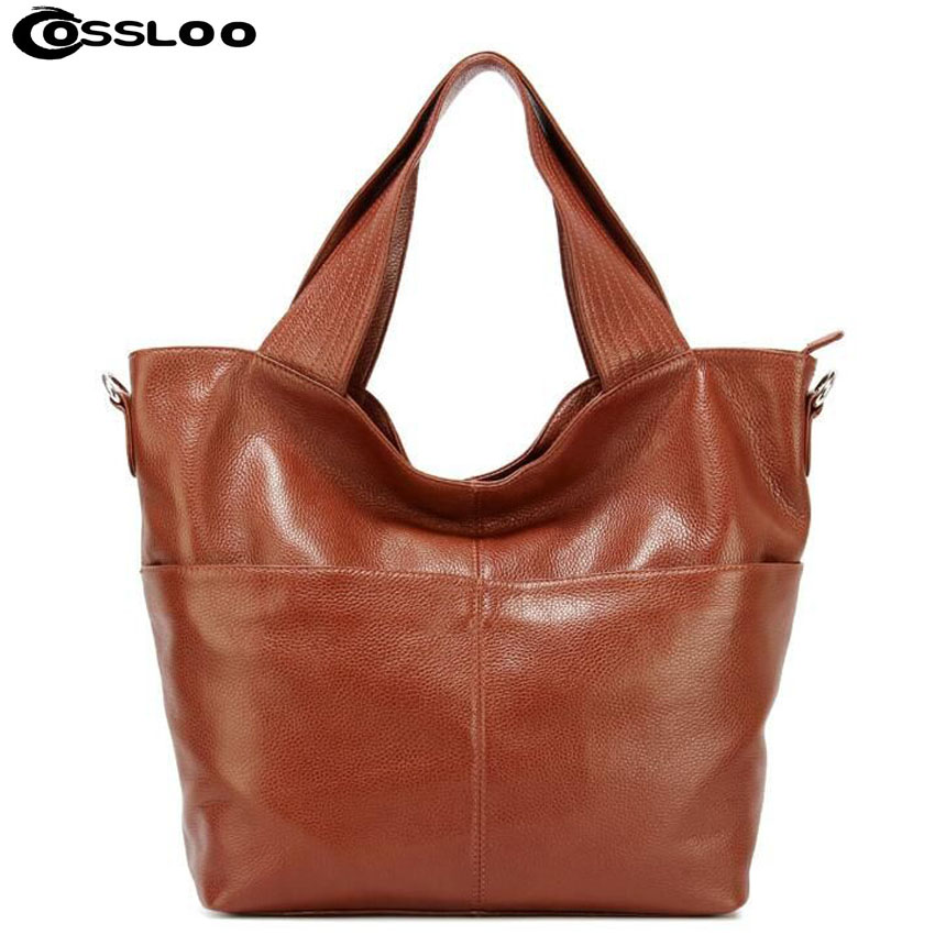 COSSLOO Bags handbags women famous brands Women Casual Tote Genuine Leather Handbag Fashion Vintage Large Shopping Bag Designer картридж совместимый для струйных принтеров cactus cs pgi29y желтый для canon pixma pro 1 36мл cs pgi29y