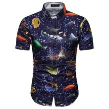 Casual Short-sleeved Beach Shirt Underwater Pattern Summer Social Mens Clothing Hawaiian Blouse Men