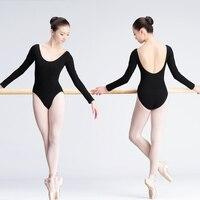 Girls Adult Ballet Leotard Women Black Dance Clothes Long Sleeve Cotton Ballet Dance Wear For Ballerina