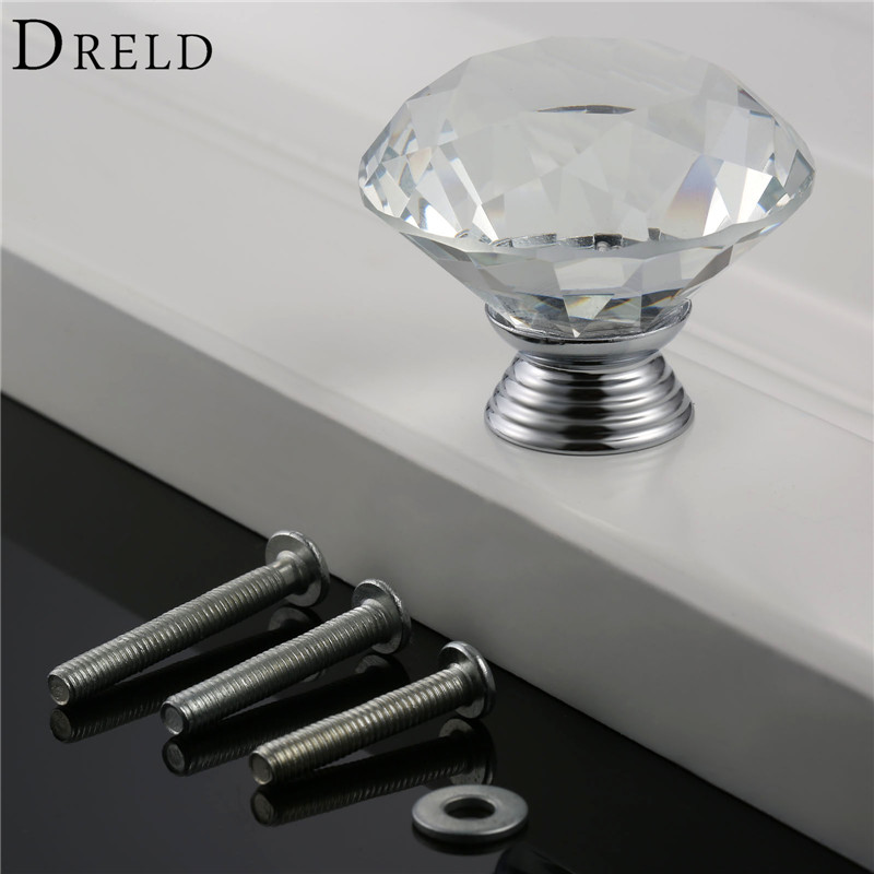DRELD 1Pcs 40mm Diamond Clear Crystal Glass Door Pull Drawer Kitchen Furniture Handle Knobs and Pulls for Cabinets+ 3Pcs Screws 8x clear crystal glass clear cut door knobs 30mm drawer cabinet kitchen handle