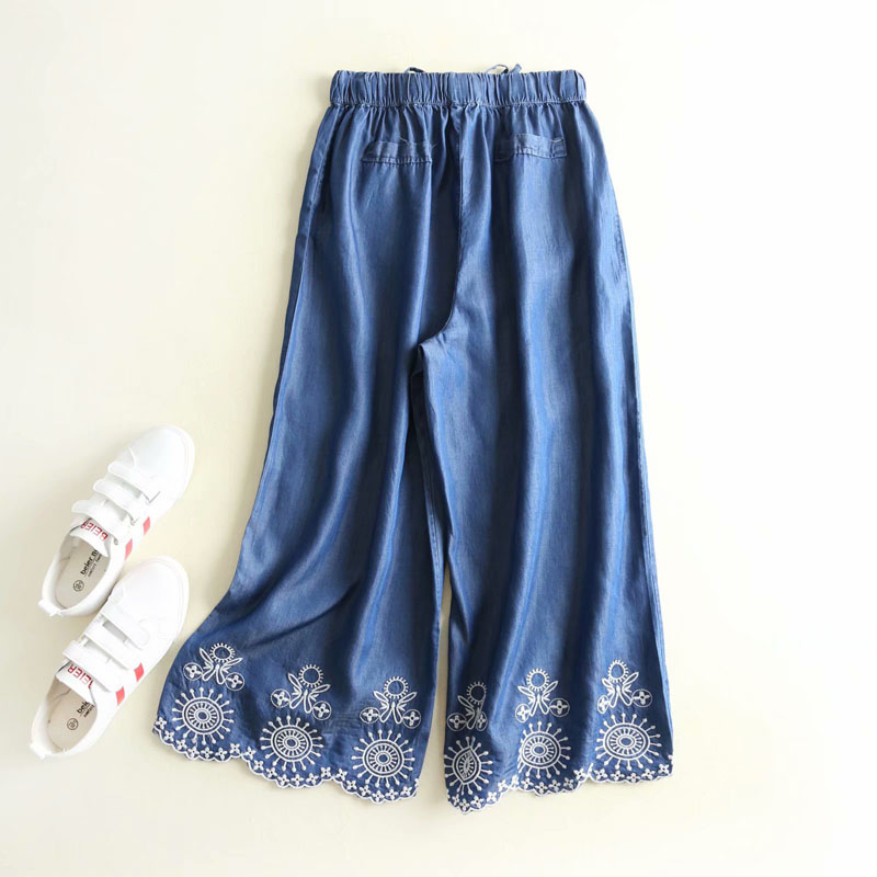 ZOGAA women elastic waist with bow knot tie floral embroidery weave edge wide leg pants casual streetwear tencel jeans trousers in Pants amp Capris from Women 39 s Clothing
