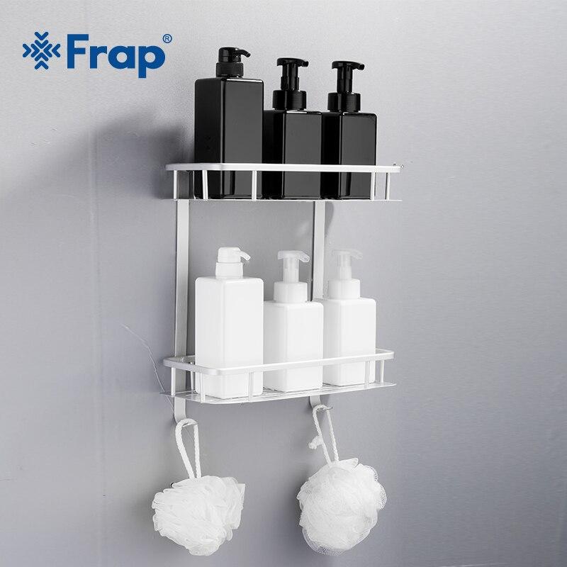 Frap New Bathroom Shelves Space Aluminum 2 Tiers Corner Shelf Shower Caddy Storage Shampoo Basket Wall Kitchen Holder Y38015-2