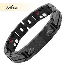 Healing Tianium Männlichen Armband Kette Carbon Magnetic Armband & Armreif 4 Elemente Gesundheit Pflege Therapie Luxus männer Mode