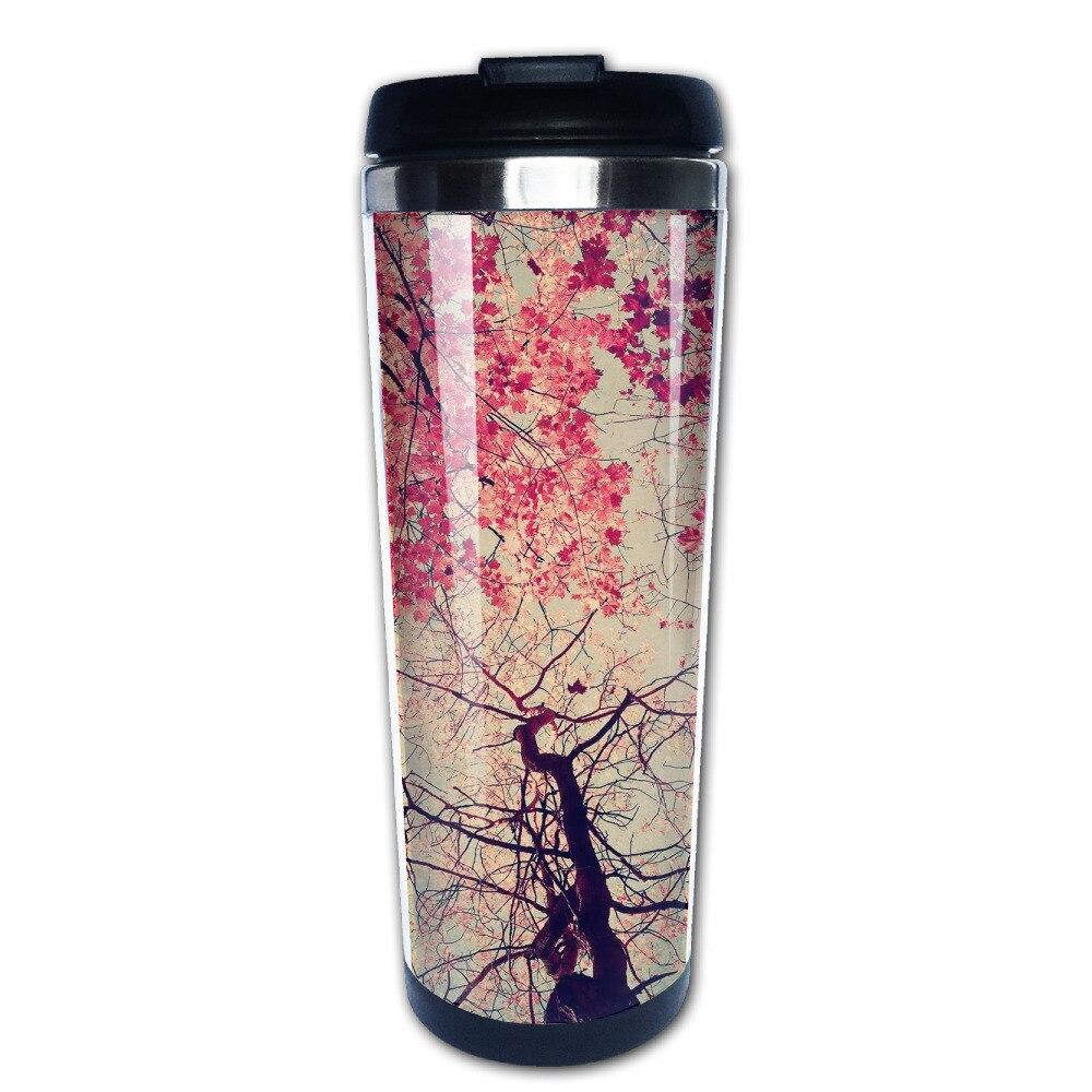 Pink Trees coffee mug gift car tazas stainless steel tumbler caneca tea Cups