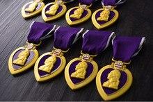 드롭 배송 우수한 품질 미국 미국 육군 보라색 심장 군사 메달 가슴 배지 cllection 가슴 메달 상자