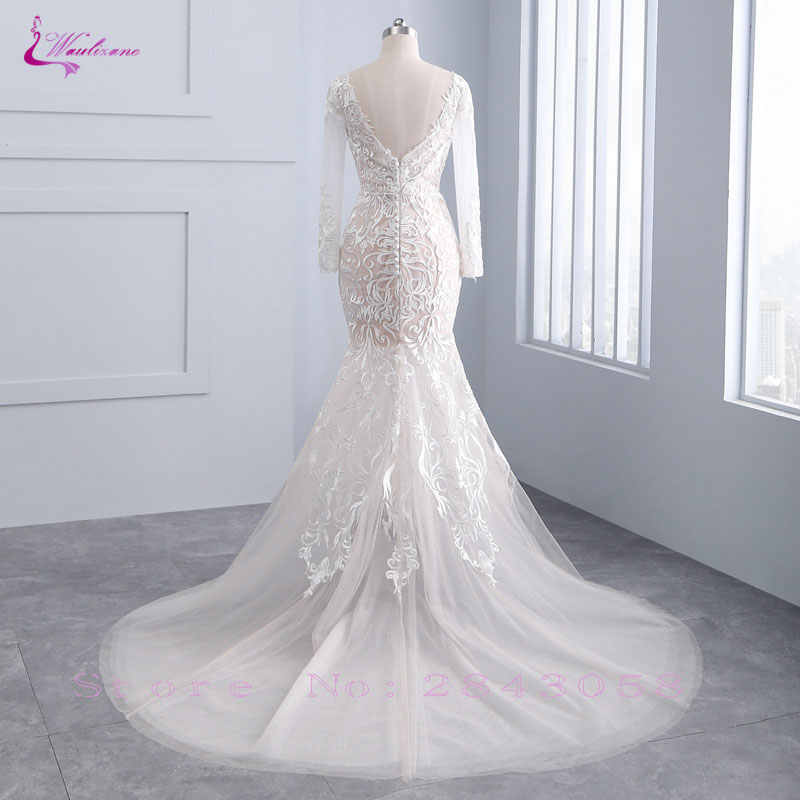 Waulizane шикарное Тюлевое платье невесты изысканная вышивка 2019 О-образным вырезом 2 в 1 съемный Шлейф Свадебное платье на заказ большие размеры