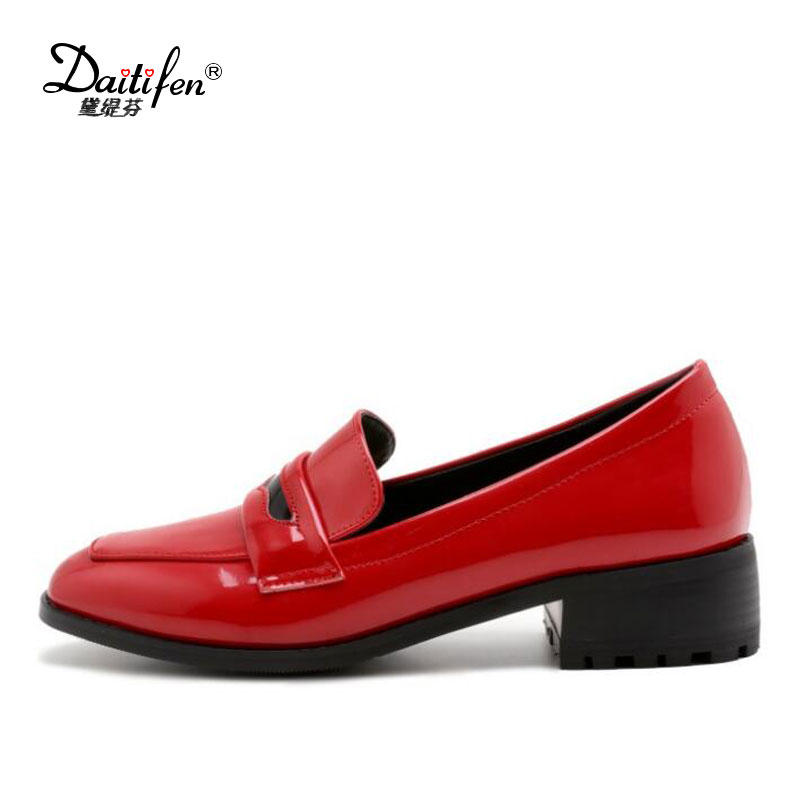 цены  2017 Spring Fashion Women Pumps Basic Med Square Thick Heels Slip-On Casual Square Toe Patent Leather Ladies Shoes Hot Sale