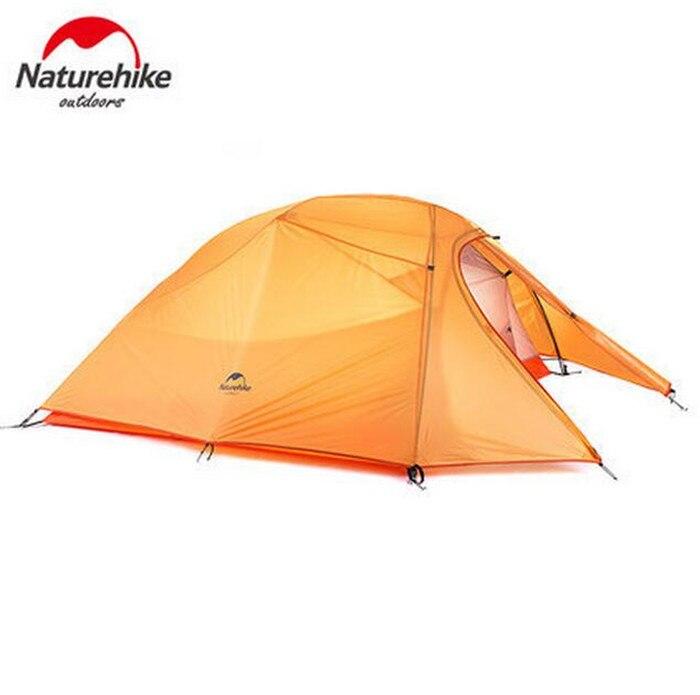 Naturehike Tente 20D Silicone Tissu Ultra-Léger 3 Personne Double Couches En Aluminium Tige de Camping Tente 4 Saison Avec Tapis