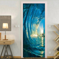 3D creative door stickers bedroom door renovation new waterproof door stickers 2pcs modern landscape style paintings by numbers#