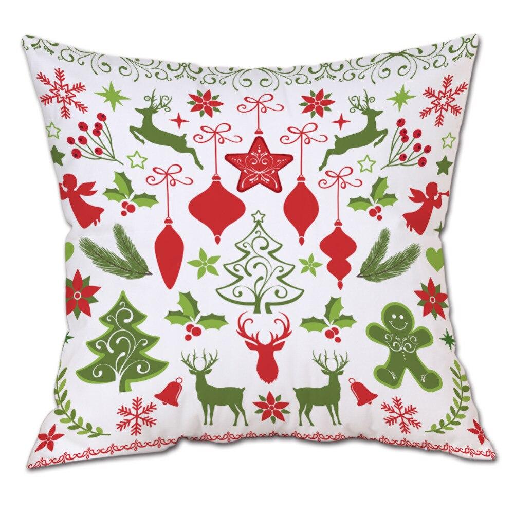 Christmas Pattern Cotton Plush Pillow Cover Children Baby Style Square Cushion Cover Home Decorative Cheap Pillow Case 45cm*45cm