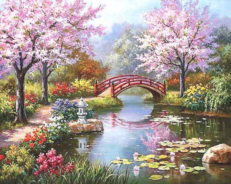 Morden Spring Landscape Frameless Wall Art Picture Painting By Numbers DIY Digital Canvas Oil