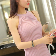 spring summer women sweater tanks sleeveless knitted camis slim halter neck sexy strapless sweaters women vest