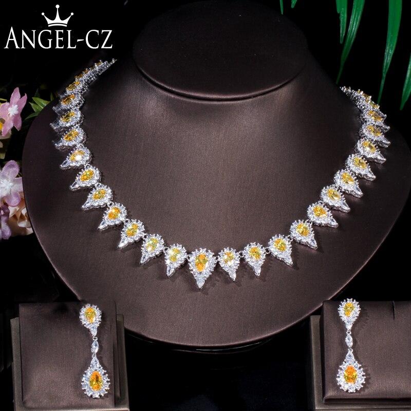 ANGELCZ brillant CZ Micro Pave couleur or blanc jaune cristal pierre larme boucles d'oreilles collier ensemble bijoux de fête de mariée AJ145