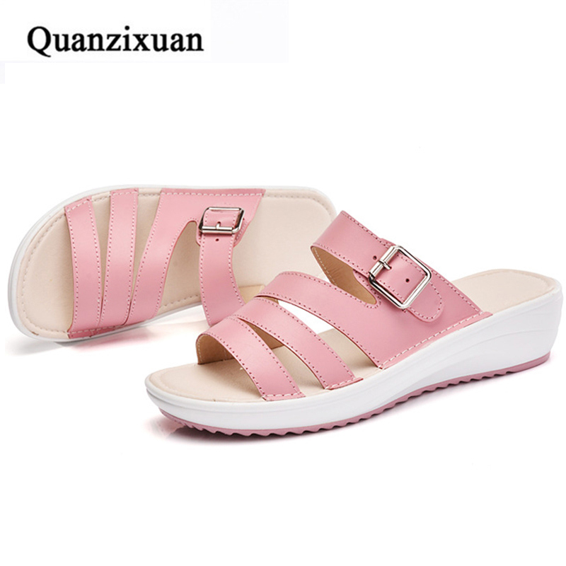Women Sandals Wedges 2017 Summer Fashion Women Slippers Platform Ladies Beach Gladiator Buckles Shoes Sandals women sandals 2017 summer shoes woman wedges fashion gladiator platform female slides ladies casual shoes flat comfortable