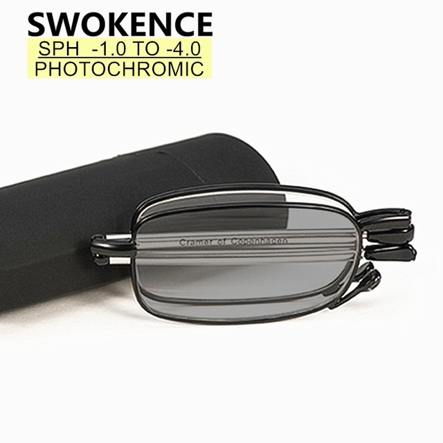 SWOKENCE SPH  0.5 ถึง 4.0 Photochromicแว่นตากันแดดสีเทาแว่นตาสำหรับสายตาสั้นผู้ชายผู้หญิงพับแว่นตาสำหรับสายตาสั้นSC99