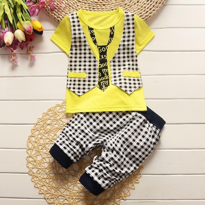 BibiCola Baby Boys Summer Clothing Sets Toddl Kids Clothing Set Childrens Gentlem T-shirt+ Short Pants 2pcs Infant Outfits