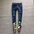 2016 women's diamond jeans female paillette beading skinny jeans trousers