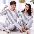 Plus Size 3xl Spring Winter Long-sleeved Stripe Casual Home Clothing Lovers Couples Matching Pajamas Set Men Women Nightwear