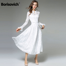 Borisovich New Arrival 2018 Spring Fashion England Style Flare Sleeve Elegant Luxury White Lace Women Evening Party Dresses M054