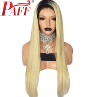 PAFF 150% Density Glueless Lace Front Human Hair Wig Silky Straight Ombre 1B 613 Color Brazilian Remy Hair Wig With Baby Hair