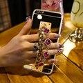 Pulseira de pedras preciosas para cobrir iphone 7 plus 6 6 s plus case brilho De Luxo Casos Espelho Borla Coques Telefone TPU Para iPhone6 6 s Capa