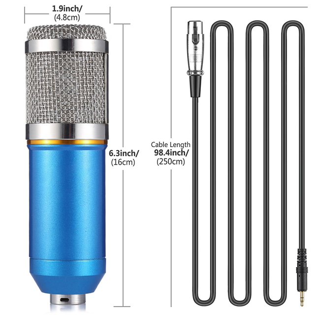 Microphone For Video Recording Studio Computer Condenser Microphone Professional 3.5mm With Metal Shock Mount