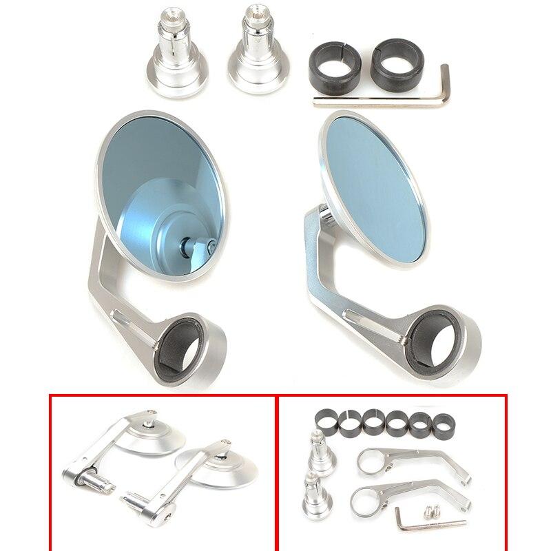 Universal Handlebar CNC Aluminum Motocycle Rearview Mirror Moto End Motor Side Blue Glass Mirror for yamaha ktm bmw suzuki honda