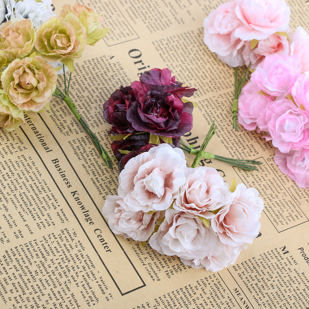 Artificial Flowers Silk flower European Fall Vivid Peony Fake Leaf Wedding Home Party Decoration 6pcs