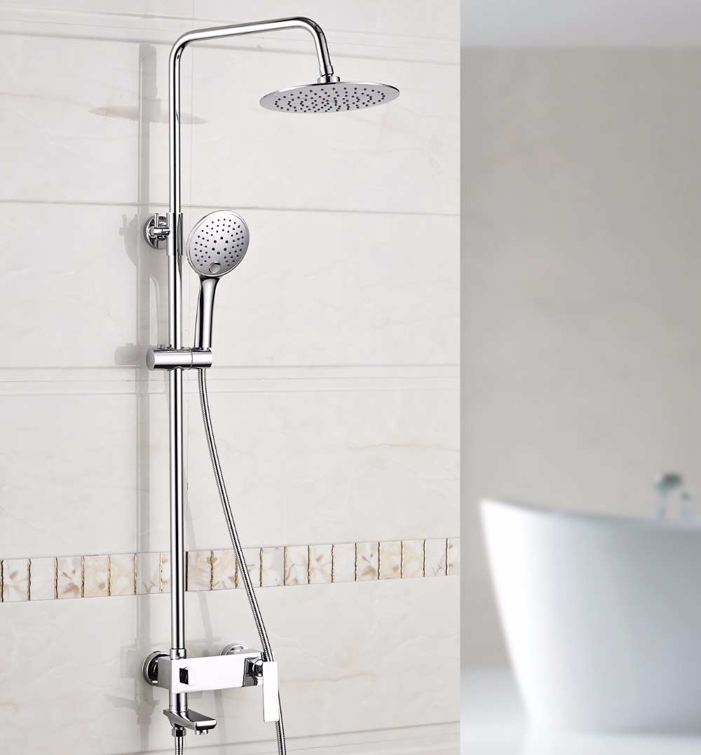 Xogolo Luxury Shower System Rainfall Shower Head Wall Mounted Coming with Two Function Handshower Traditional Faucet