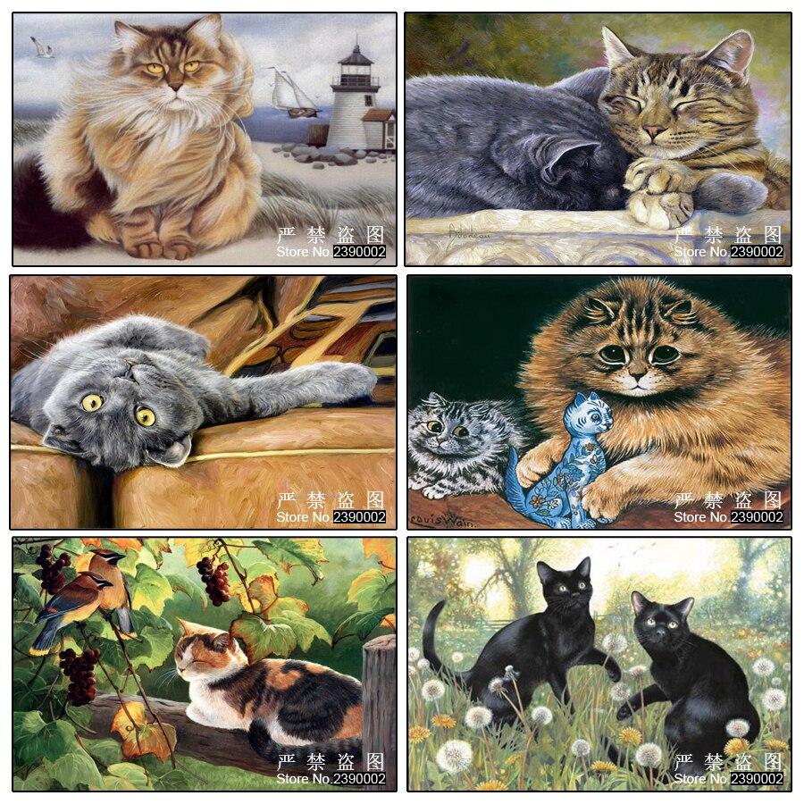 5d DIY 다이아몬드 그림 스티커 장식 그림 라인 석 모자이크 동물 크로스 스티치 다이아몬드 패턴 다이아몬드 자수 고양이
