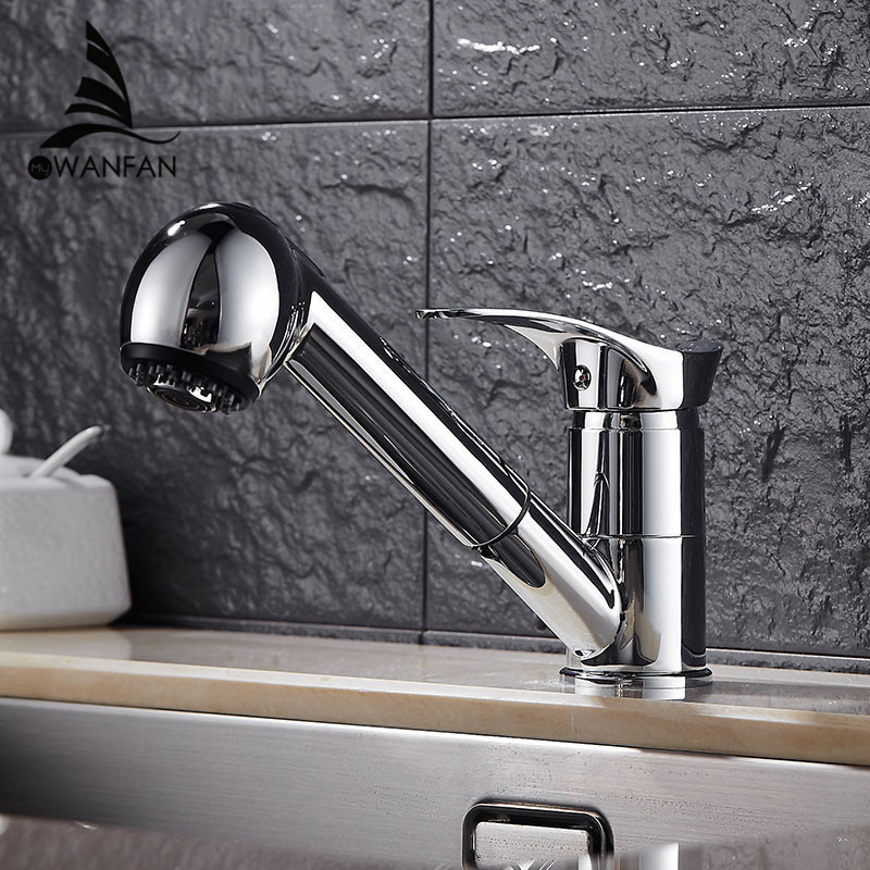 360 Degree Swivel Pull Out Kitchen Faucet water saving Polished white Basin Mixer Brass Tap Vessel