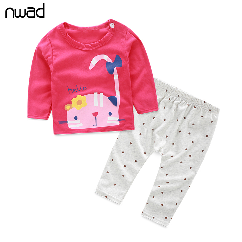 NWAD Newborn Baby Girl Boy Clothes Set Cute Cat And Dog Print Clothing Suit For Baby Kids Children Cotton Clothing Sets FF064