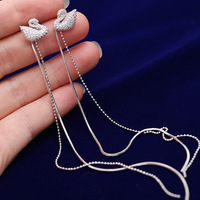 High Quality Fashionable Swan Ear Nail 925 Silver Needle Pearl Long Style Of Pendant Jewelry Wedding