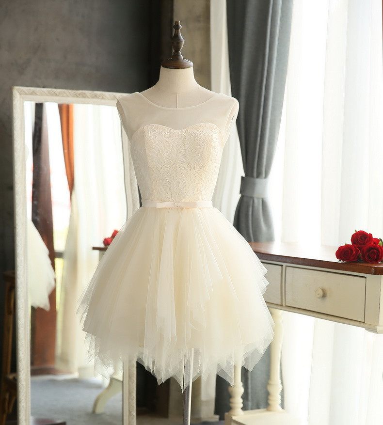 Quality bridesmaid dresses 2016 New Sweet Lace wedding Party special occasion dresses White Red Champagne Short porm dresses 2