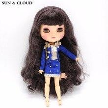 SUN & CLOUD Blå kostym Set Uniform Skirt Suit Kläder med BH för 1/6 30cm Blyth Dolls 3 st / set