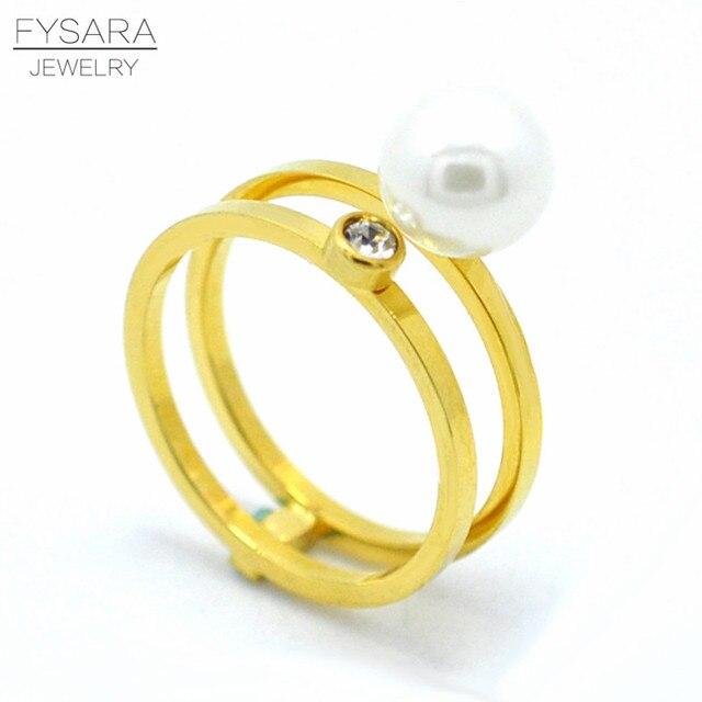 Fysara Marke Hochzeit Ring Gold Farbe Weiss Perle Schmuck Kristall