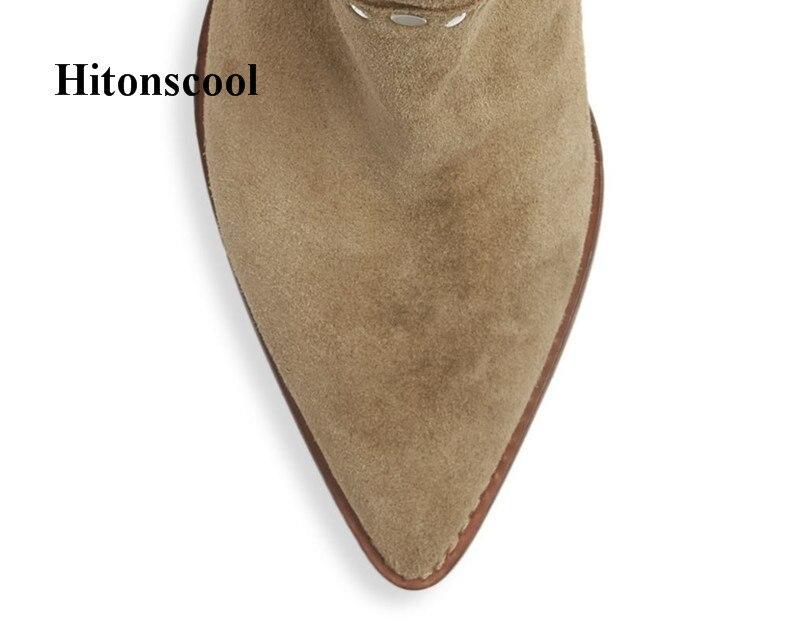 Chaussures Slip Cuir Véritable Bottes Moto Femmes Daim As Sexy Chunky Pointu Picture En Bout Cowboy Bottines Sur Nouveau Talon qgOzfwxpg